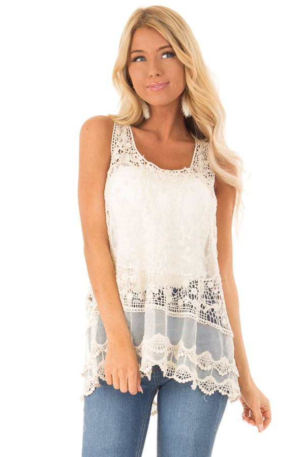4f4f472471284 Natural Detailed Sheer Lace Flowy Tank Top - Lime Lush Boutique
