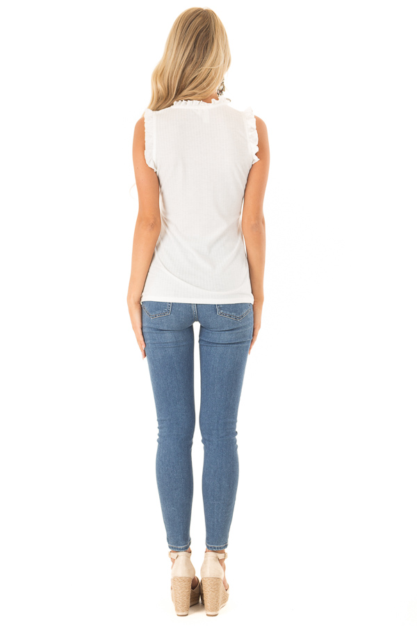 Off White Ribbed Mock Neck Tank with Ruffle Detail back full body