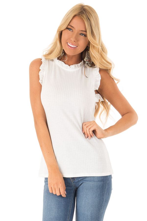 Off White Ribbed Mock Neck Tank with Ruffle Detail front close up
