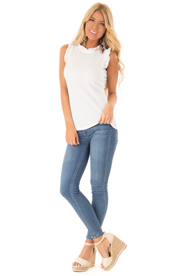 Off White Ribbed Mock Neck Tank with Ruffle Detail front full body