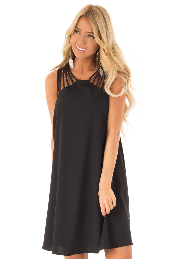 Black High Neck Short Flared Dress with Multi Strap Detail front close up