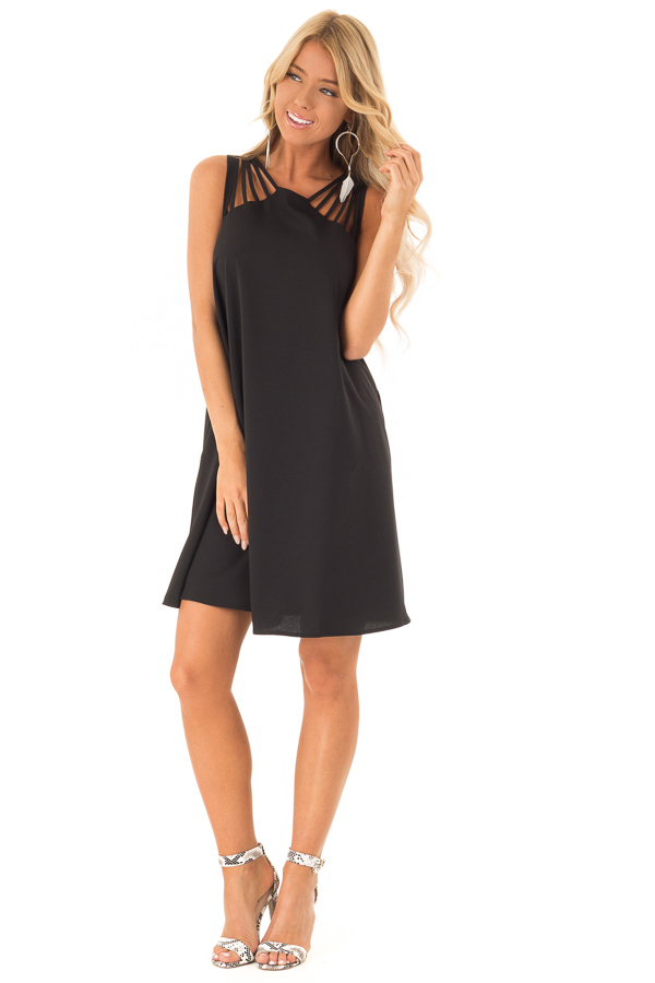 Black High Neck Short Flared Dress with Multi Strap Detail front full body