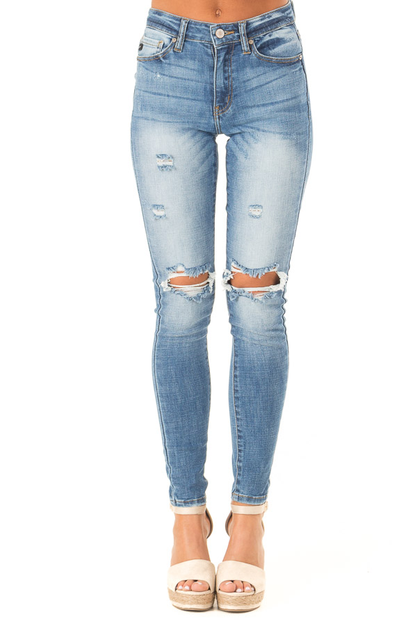 Medium Wash Distressed High Waisted Skinny Jeans front view
