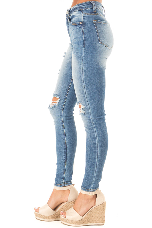 Medium Wash Distressed High Waisted Skinny Jeans side view