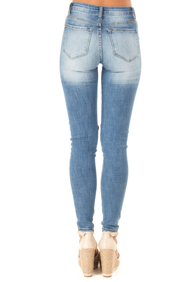 Medium Wash Distressed High Waisted Skinny Jeans back view