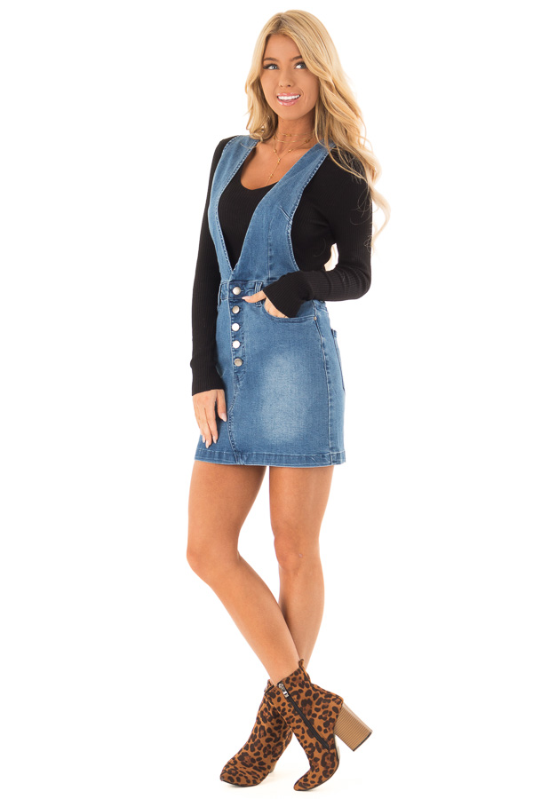 6257626c93 ... Medium Wash Button Up Denim Jumper Dress with Pockets front full body  ...