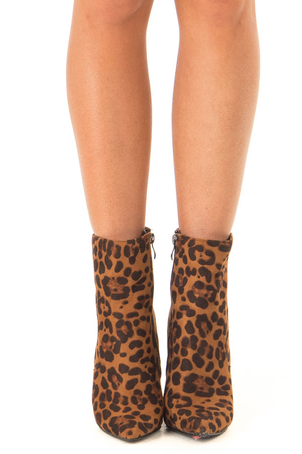Leopard Print Chunky Heel Ankle Booties with Pointed Toe front view