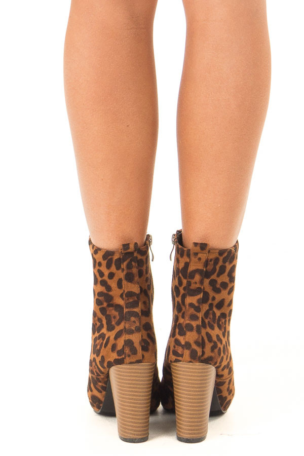 Leopard Print Chunky Heel Ankle Booties with Pointed Toe back view