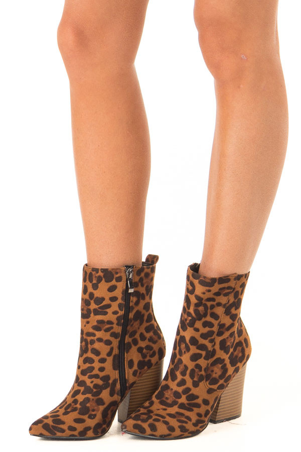 Leopard Print Chunky Heel Ankle Booties with Pointed Toe side view