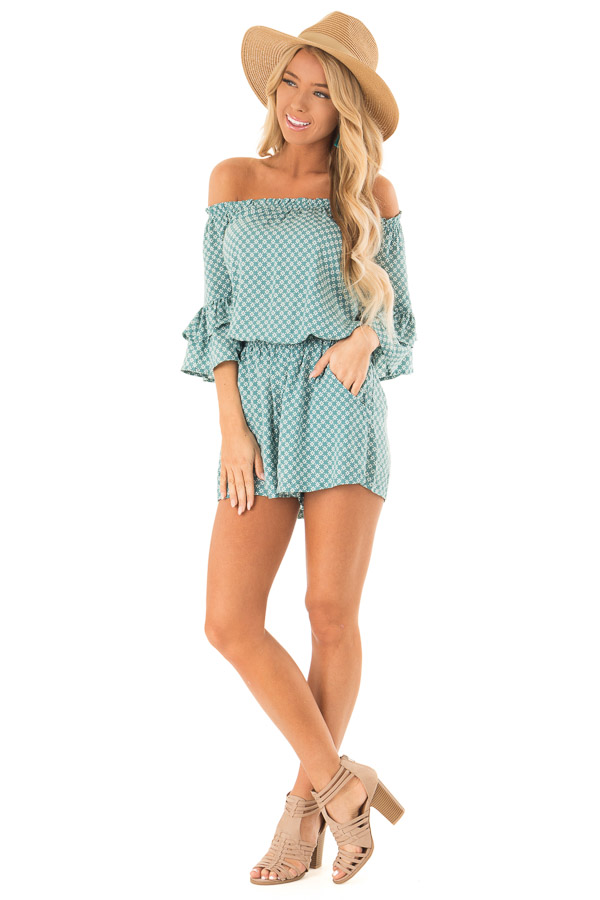Dusty Teal Off the Shoulder Romper with Side Pockets front full body