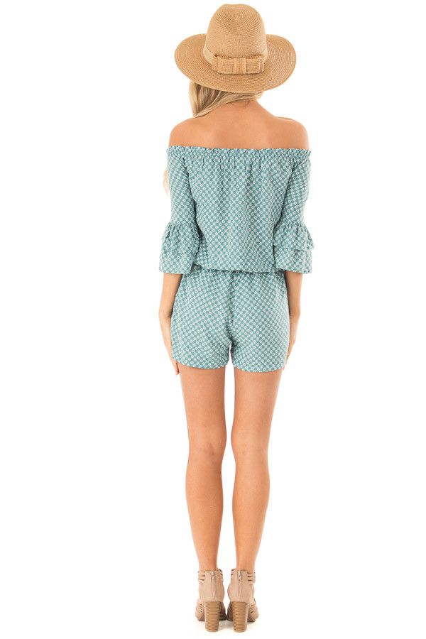 Dusty Teal Off the Shoulder Romper with Side Pockets back full body