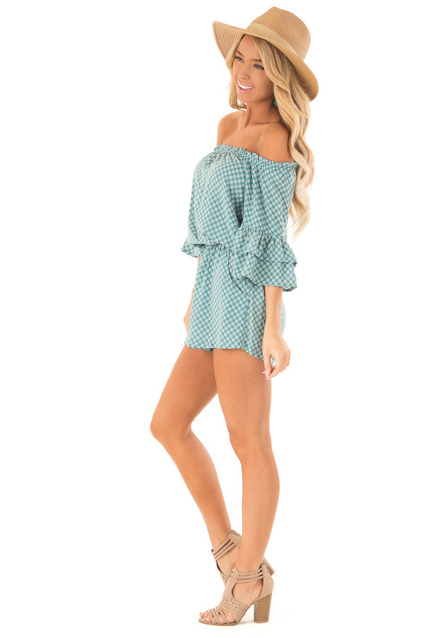 Dusty Teal Off the Shoulder Romper with Side Pockets side full body