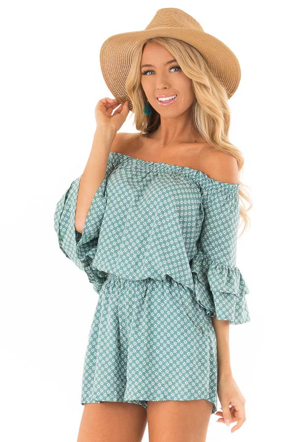 Dusty Teal Off the Shoulder Romper with Side Pockets front close up