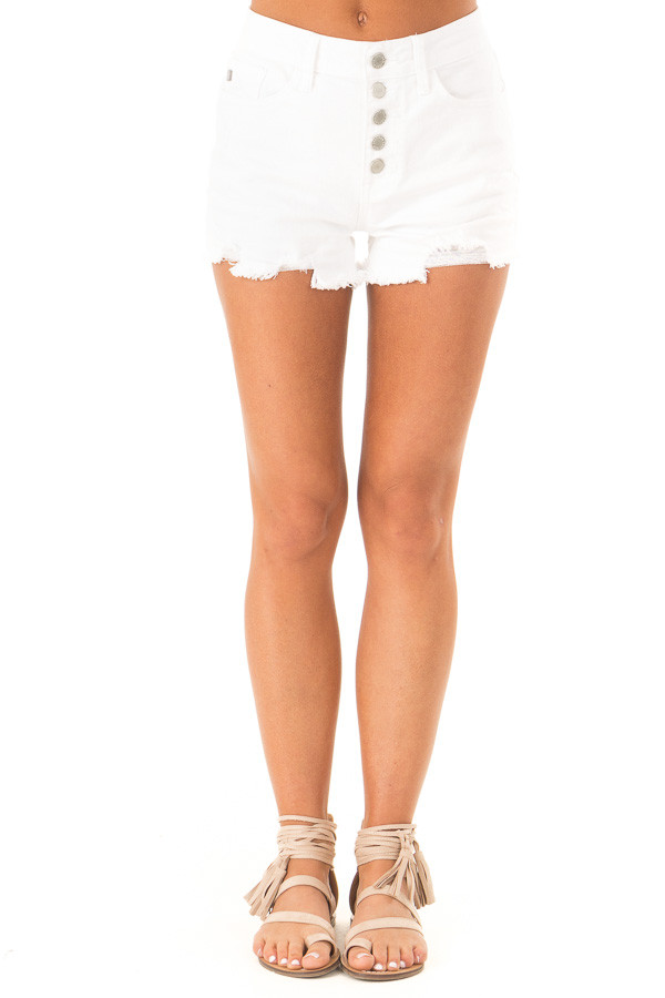Off White Button Up Distressed High Rise Shorts front view