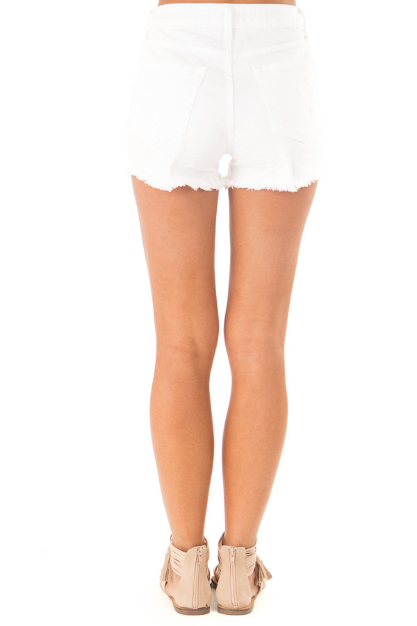 Off White Button Up Distressed High Rise Shorts back view