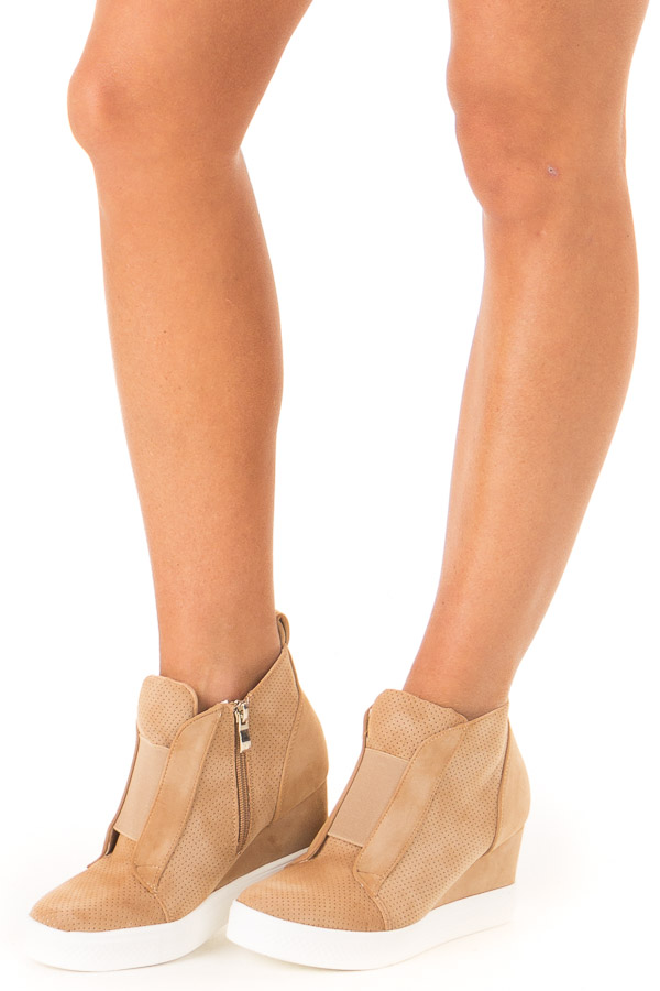 Camel Faux Suede Wedge Sneaker with Zipper side view