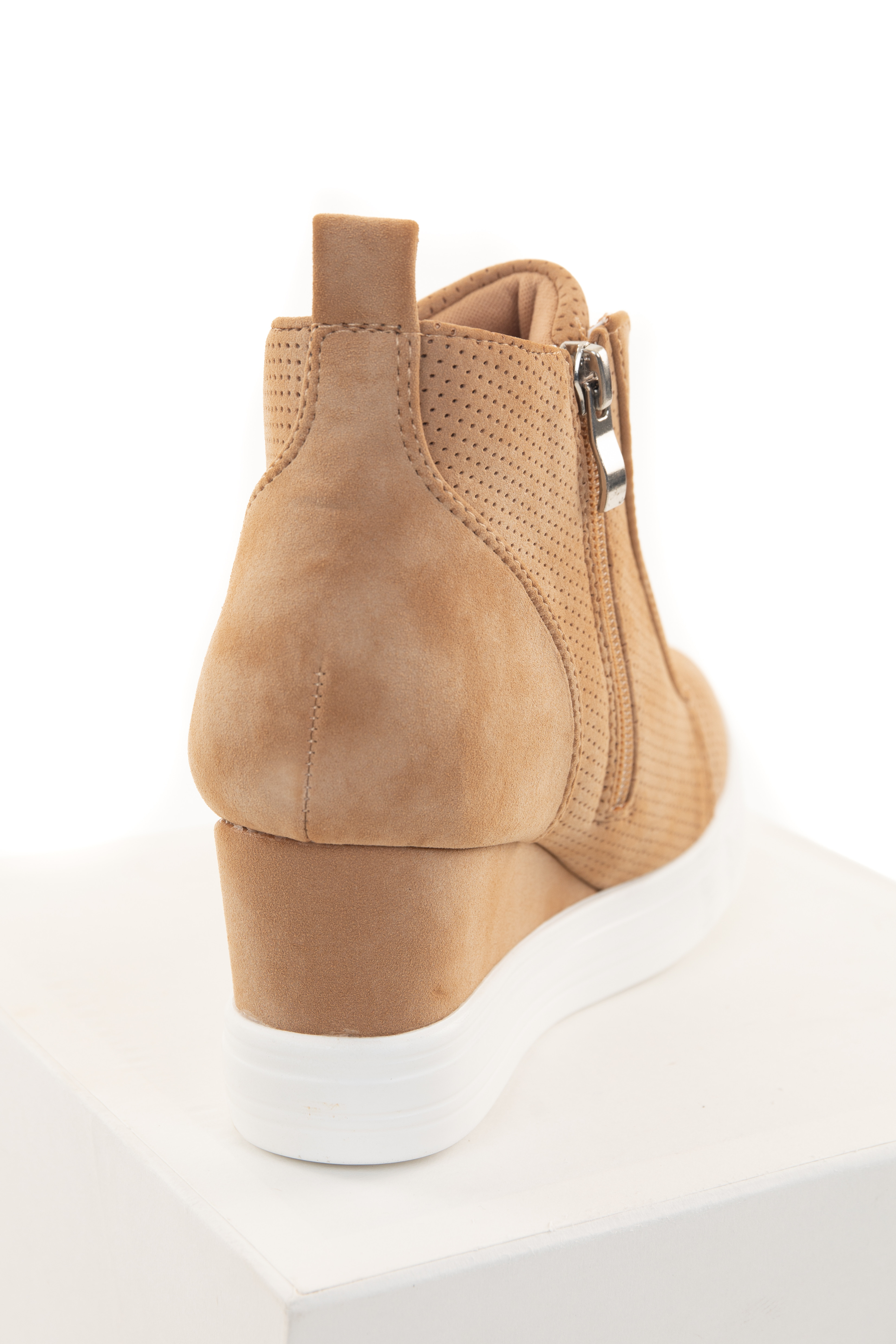 Camel Faux Suede Wedge Sneaker with Zipper