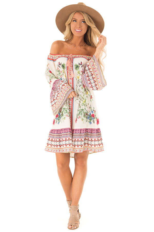 Cream Floral Off the Shoulder 3/4 Bell Sleeve Dress front full body