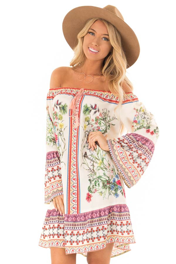 Cream Floral Off the Shoulder 3/4 Bell Sleeve Dress front close up