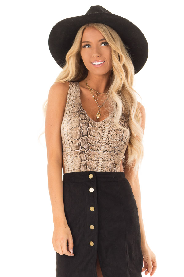 Taupe V Neck Snake Print Bodysuit with Side Cutouts - Lime Lush Boutique 176176a47