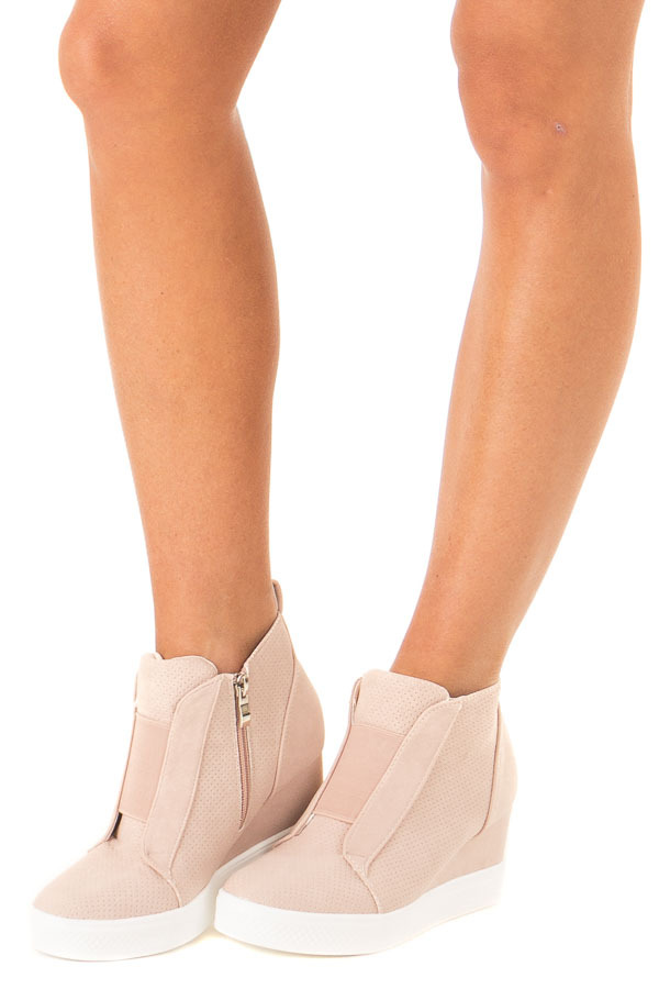 Blush Faux Suede Wedge Sneaker with Zipper side view
