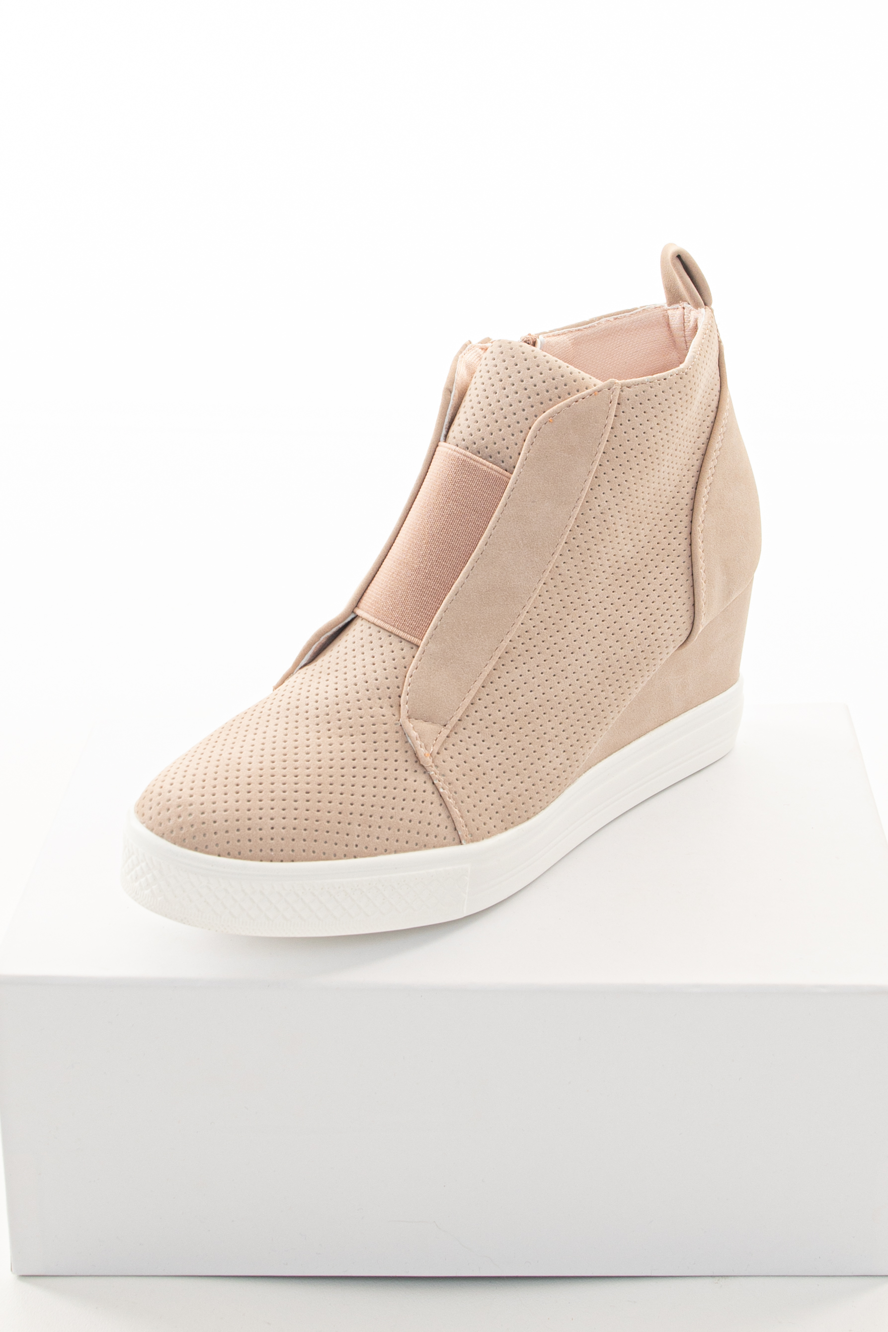 Blush Faux Suede Wedge Sneaker with
