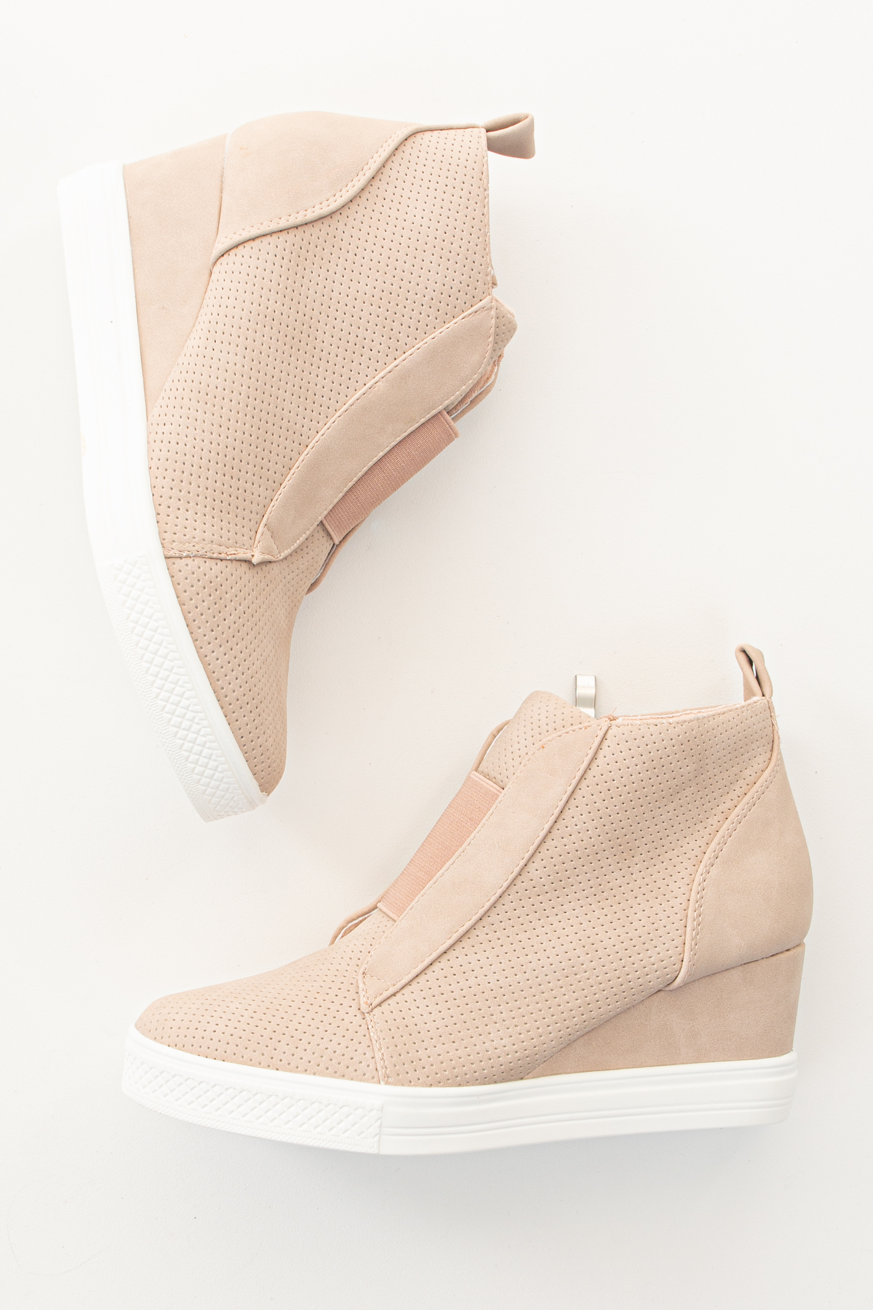 Blush Faux Suede Wedge Sneaker with Zipper