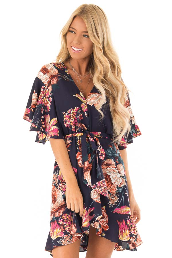 Navy Floral Print V Neck Wrap Dress with Ruffle Sleeves front close up 40cd5e2a0