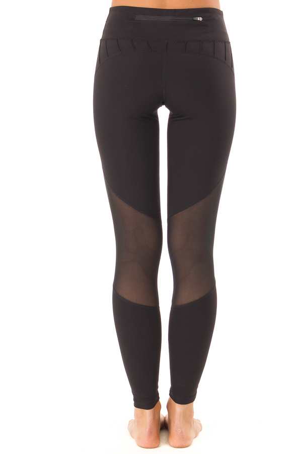 Ebony Athletic Leggings with Mesh Panels and Pocket back view
