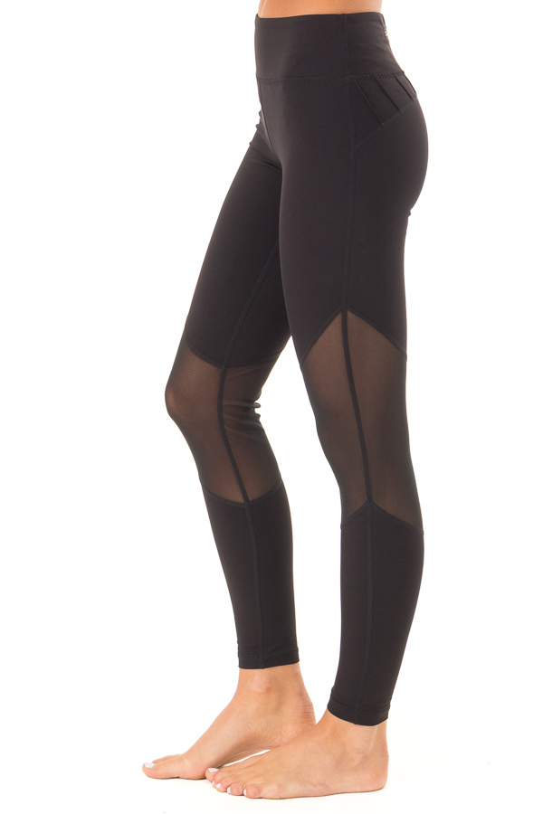 Ebony Athletic Leggings with Mesh Panels and Pocket side view