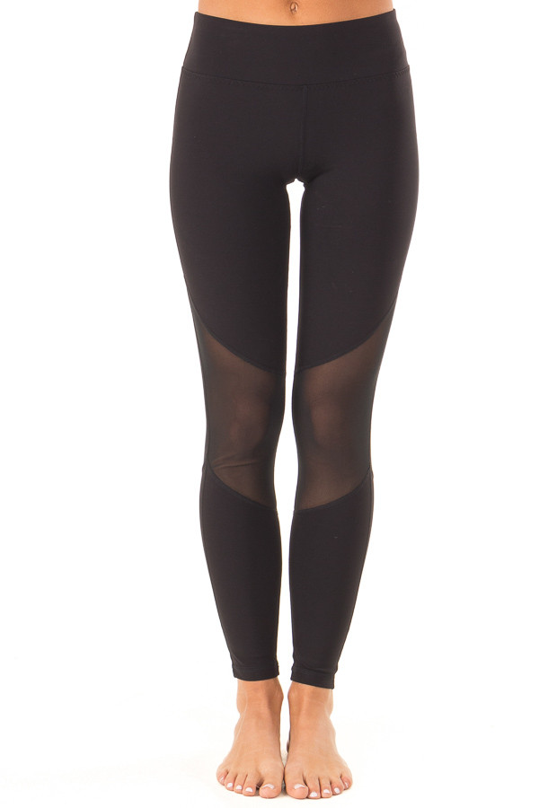 Ebony Athletic Leggings with Mesh Panels and Pocket front view
