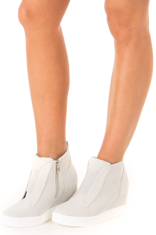 Pale Grey Faux Suede Wedge Sneaker with Zipper side view