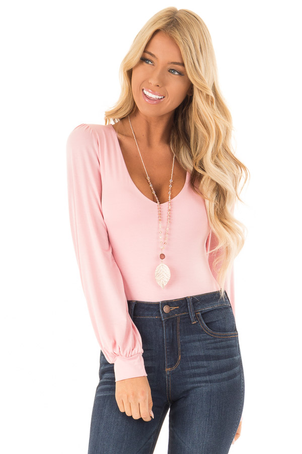 Rose Pink Long Sleeve Bodysuit with Plunging Neckline front close up