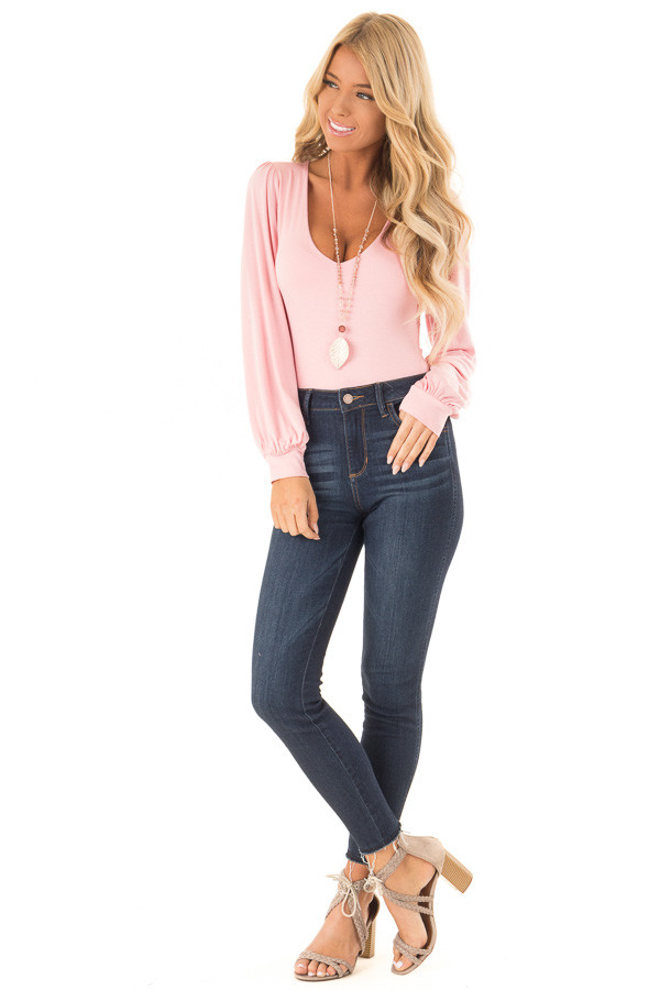 Rose Pink Long Sleeve Bodysuit with Plunging Neckline front full body