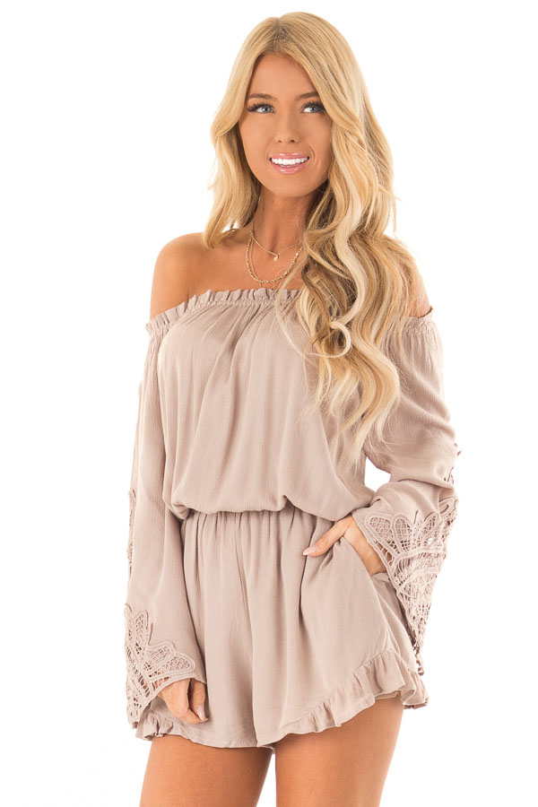 Mocha Off the Shoulder Romper with Lace Detail front close up