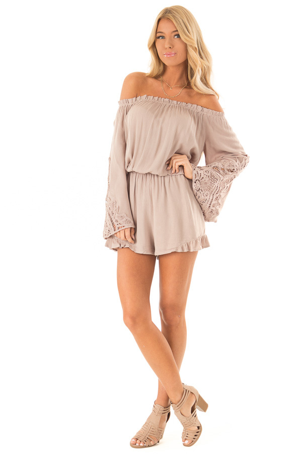 Mocha Off the Shoulder Romper with Lace Detail front full body