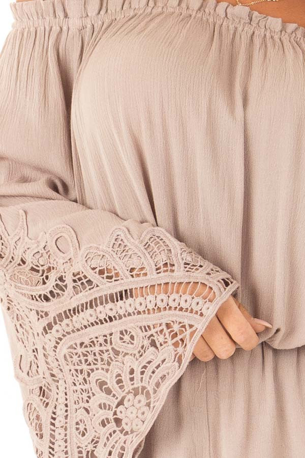 Mocha Off the Shoulder Romper with Lace Detail detail