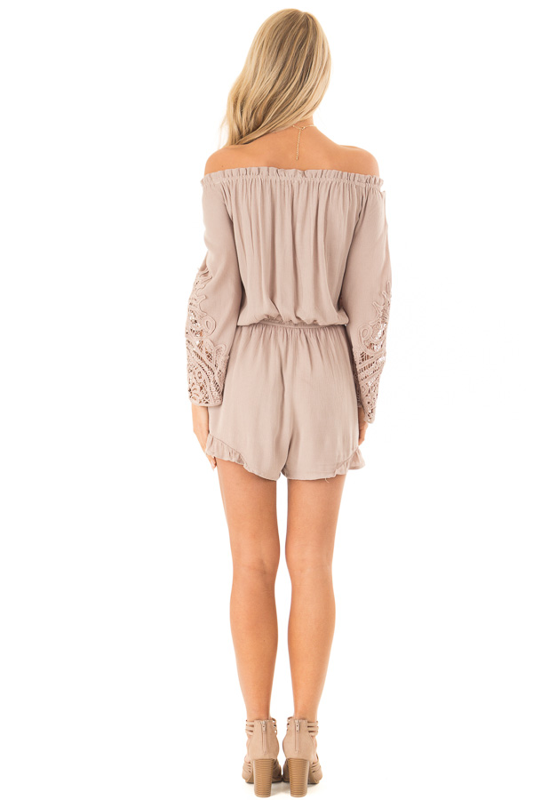 Mocha Off the Shoulder Romper with Lace Detail back full body