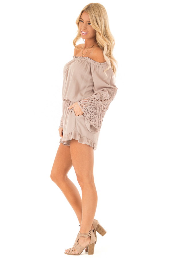 Mocha Off the Shoulder Romper with Lace Detail side full body