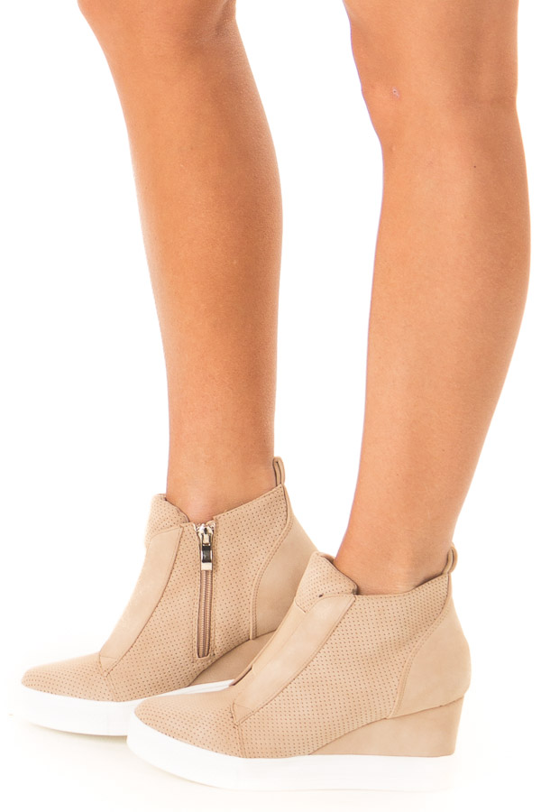 Warm Taupe Faux Suede Wedge Sneaker with Zipper side view