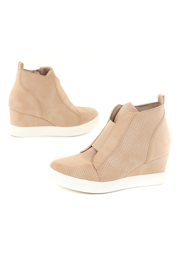Warm Taupe Faux Suede Wedge Sneaker with Zipper