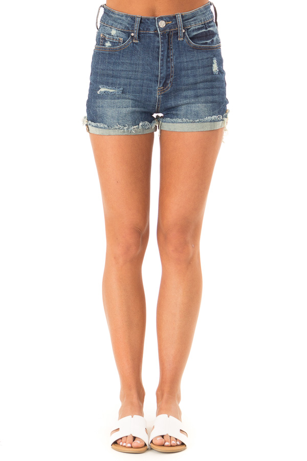 Dark Wash High Waisted Shorts with Distressed Cuffed Hem front view