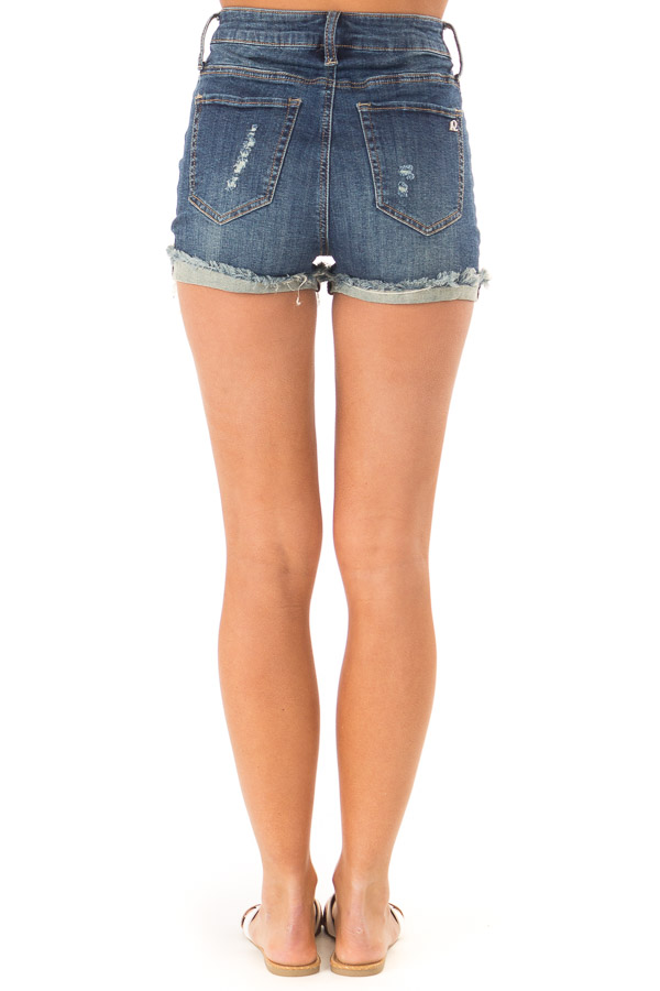 Dark Wash High Waisted Shorts with Distressed Cuffed Hem back view