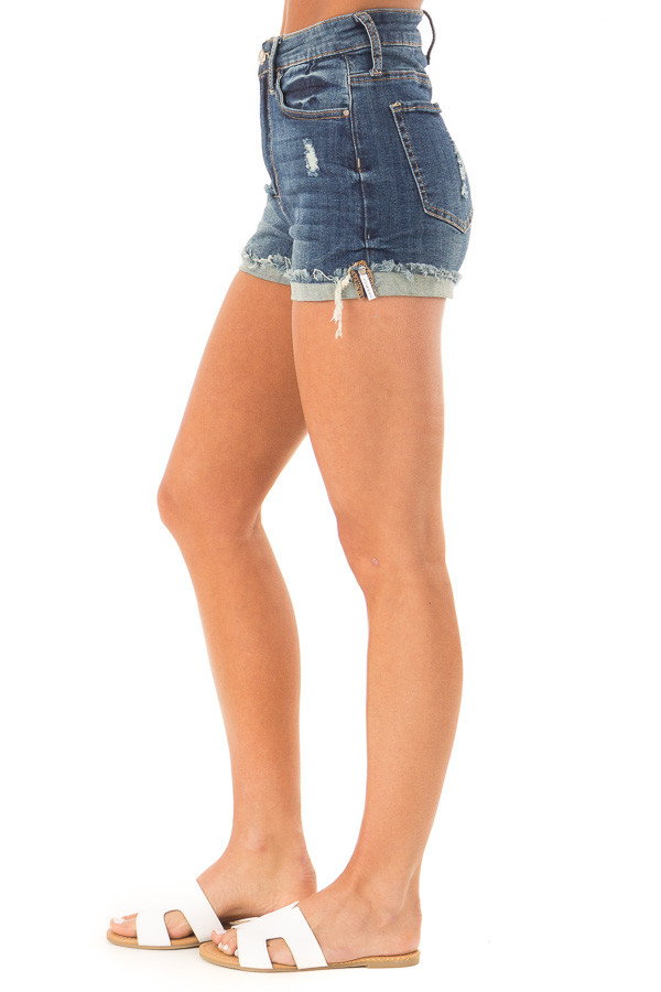 Dark Wash High Waisted Shorts with Distressed Cuffed Hem side view
