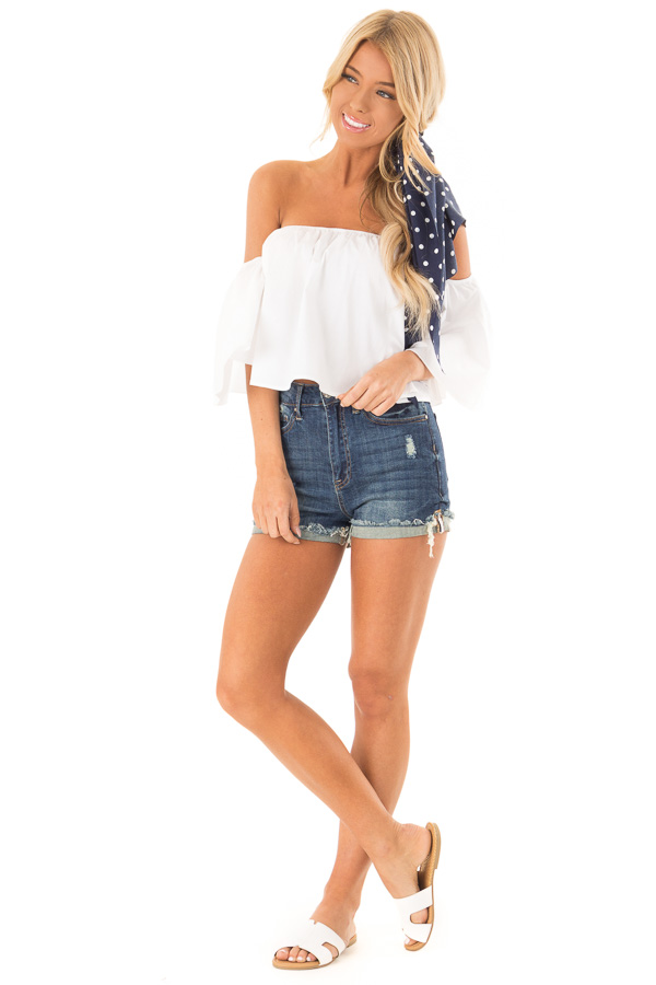 Dark Wash High Waisted Shorts with Distressed Cuffed Hem front full body