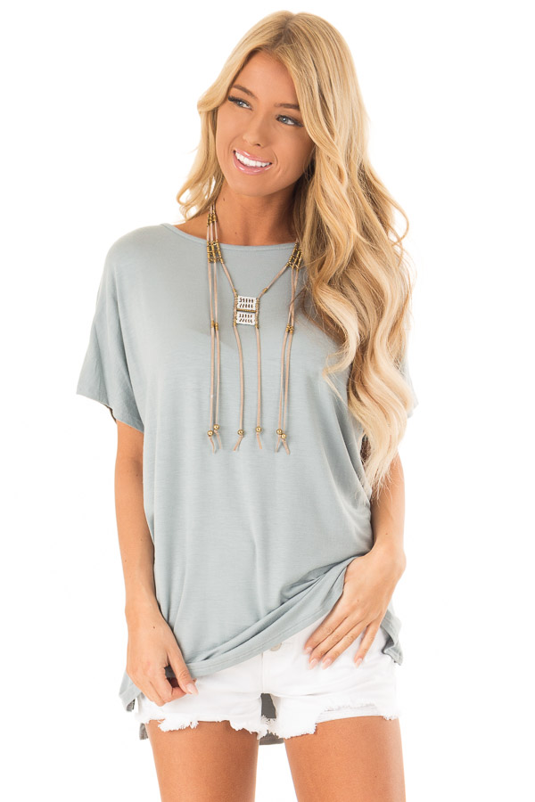 118071b6ffa7b3 Dusty Blue Short Sleeve Tunic Top with Small Side Slits - Lime Lush ...