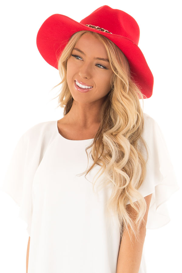 Candy Red Felt Panama Hat with Gold Chain Detail front view