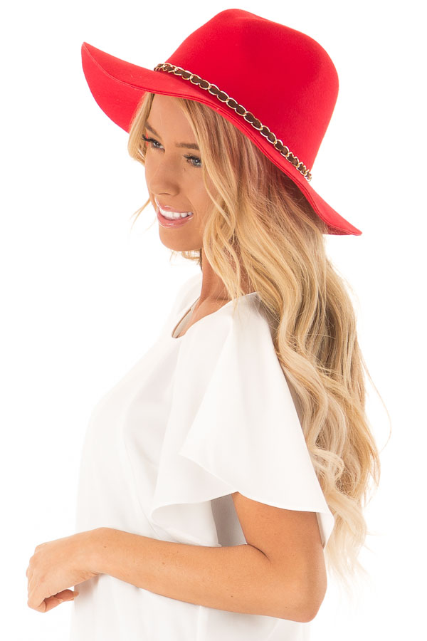 Candy Red Felt Panama Hat with Gold Chain Detail side view