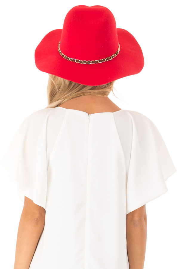 Candy Red Felt Panama Hat with Gold Chain Detail back view