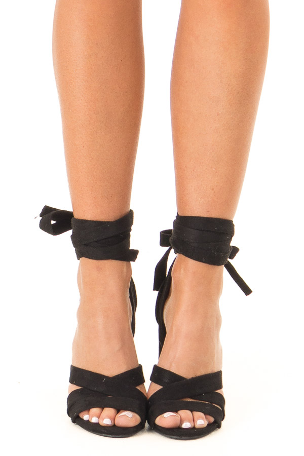 Black Faux Suede Strappy Heel with Ankle Wrap Detail front view